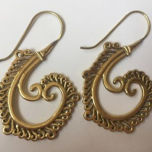 Vintage golden bohemian tribal earrings loops